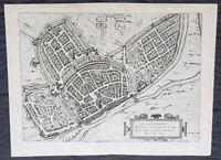 1574 Braun & Hogenberg Antique Map View of Wesel North Rhine-Westphalia, Germany