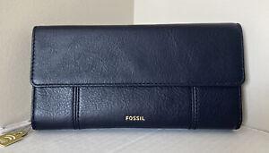 NWT Fossil Jori Flap Clutch RFID Leather wallet Midnight Navy