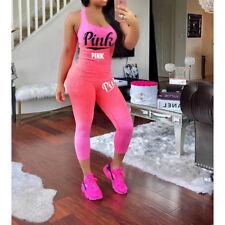 Ladies Letter Print Sport Gym Workout Tracksuit Vest Tank Top Cropped Pants Sets