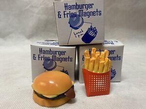 NEW! Vintage Faux Food Hamburger & French Fries Kitchen Fridge Magnets