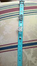 Splendide collier petit moyen chien cuir bleu épais pierres bijoux NEUF 34cm