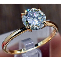 2 CT Round Cut Diamond Brilliant Engagement Solitaire Ring 14k Yellow Gold Over