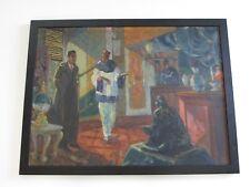 ANTIQUE PAINTING DETECTIVE ART DECO WPA ERA STORE FIGURES 1920'S  IMPRESSIONISM
