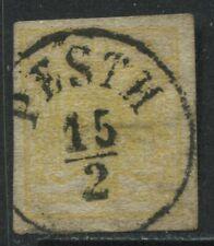 Austria 1850 1 kreuzer yellow CDS used