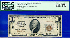 TOP POP 1/0 CH # 9427 - 1929 $10 (( FINEST Known - Callicoon, NY )) PCGS 55PPQ-