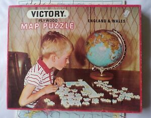 Victory Plywood Jigsaw Map Puzzle England & Wales 100 Piece 7504 M2 Complete