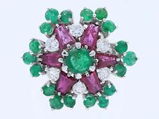 Vintage anillo brillante esmeraldas rubíes 750 Gold 14 quilates Italia para 1960