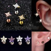 Gem Diamonds Ring Bar Ear Climber Cartilage Helix Tragus Piercing Stud Earrings