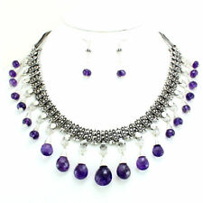 Necklace earrings natural purple amethyst gemstone faceted beaded handmade 96 gm