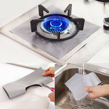 4x Aluminum Foil Gas Hob Oil Protector Liner Reusable Stove Clean Mat Pad