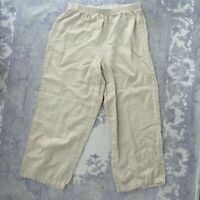 Hot Cotton by Marc Ware Women's 100% Linen Cropped Pants Sandy Beige M