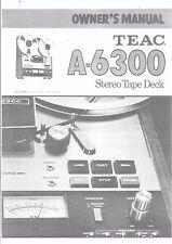 TEAC Bedienungsanleitung user manual owners manual  für A- 6300