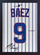 Javier Baez Chicago Cubs MLB signed 100% COTTON Canvas Framed