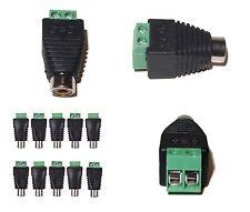 CONNETTORE adattatore RCA femmina a morsetti DC 2 poli, spinotto presa rca audio