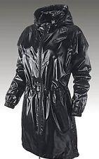 Nike Long Windrunner Parka Winter Jacket Shiny Nylon Gloss Black Wet Look Small