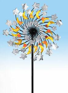 Doppel Windrad Ø 33 cm - Mond und Sterne - Garten Windspiel Wind Mühle Deko
