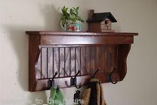 "30"" Handcrafted Wooden wall mount Coat Rack, Display Shelf, Key Hook, E Chestnut"