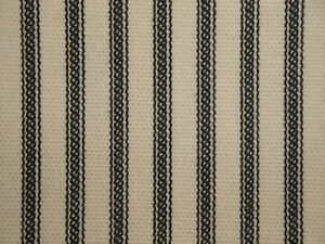 Black Cotton Duck Stripe Ticking Fabric | Primitive Striped Home Decor Fabric