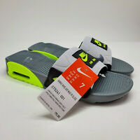 NIKE AIR MAX 90 Slide Slipper Grey Black Volt Neon BQ4635 001 Women Size 7