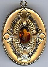 oro antico Fill tagliato a mano strass ambra colore VETRO CENTRALE