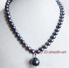 7-8mm,  noir, perle d'eau douce, collier,  43 cm