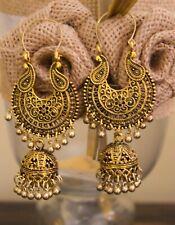 Ethnic Bollywood Bohemian Jhumka Earring Indian Gold Afghani Oxidized Fashion