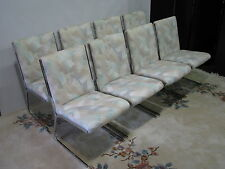 Set of 8 Milo Baughman Style 1970s Chrome Dining Chairs