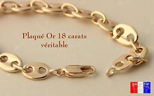 bracelet gourmette luxe grain de café large pour homme plaqué or véritable neuf