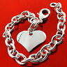 Bracelet Bangle Real 925 Sterling Silver S/F Solid Link Ladies Heart Charm