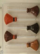 WITCH BROOM LOLLIPOP CLEAR PLASTIC CHOCOLATE CANDY MOLD H109