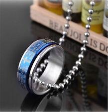 Plata / azul / acero inoxidable negro cruz & Al señor oración anillos collar