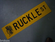 """Vintage ORIGINAL RUCKLE ST STREET SIGN 36"""" X 9"""" BLACK LETTERING ON YELLOW"""