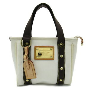 LOUIS VUITTON Cabas PM hand bag GHW M40039 canvas white used