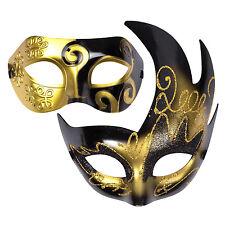 "His & Hers Halloween Mask Set Venetian Masquerade Party  - ""Aurora"" Black / Gold"
