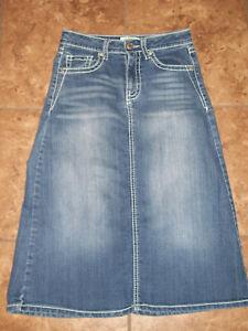 Cato Girls Long Denim Modest Skirt Size 8,  25 x  26 Stretch