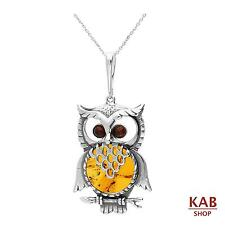 COGNAC BALTIC AMBER PENDANT-OWL STERLING SILVER 925. KAB-81 a