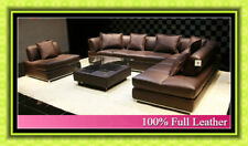 NEW Large Brown 100% Full Italian Leather Corner Sofa Settee Suite---Top Quality