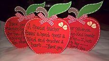 Handmade Wooden THANK YOU, TEACHER FREESTANDING APPLE  plaque - keepsake, gift