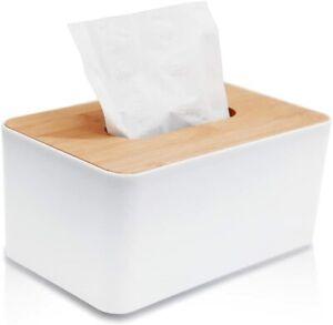 Tissue Box with Bamboo Cover, Facial Tissue Dispenser Holder, Wooden Rectangular