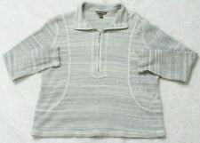 Tommy Bahama Large Long Sleeve Women's 1/4 Zip Polo Sweater Gray Cotton Woman's