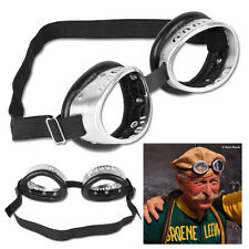 L'Eroica Vintage Style Aluminum Frame & Black Leather Cycling Goggles Retro