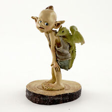 Miniature Fairy Garden Pixie with Baby Dragon on Wood Stump T 4319 Hobbit Garden