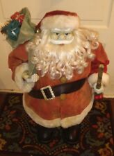 Vintage Rare Santa Claus Celluloid Face Tall Wide Felt Clothes bag of Presents