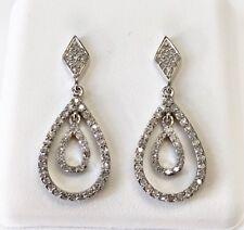 14K White Gold 0.29 Ct Natural Diamond Drop Dangling Screw Back Earrings