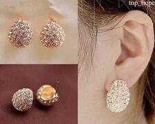 Elegant Fashion Women Lady Girls Crystal Rhinestone Flower Ear Stud Earrings