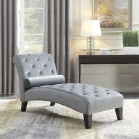 Living Room Button Tufted Leisure Furniture Chair Chaise Lounge Sofa Couch, Gray