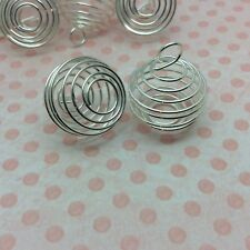 10 x Silver Spiral Tumblestone Bead Cage Pendant 19mm x 28mm Oval Nickel Free