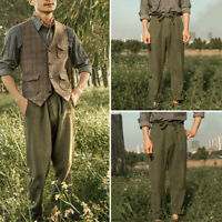 INCERUN Men's Vintage Style Flax Beach Trousers Causal Baggy Holiday Long Pants