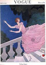Vogue. Rose. Fashion. escalera .1920's. Disfraz. belleza. impresión botánico.
