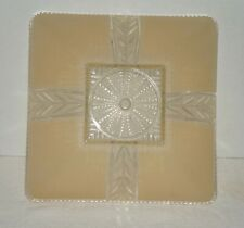 "Vtg Glass Ceiling Light Shade Clear & Frosted Beige Tan Square 11.25"" x 11.25"""